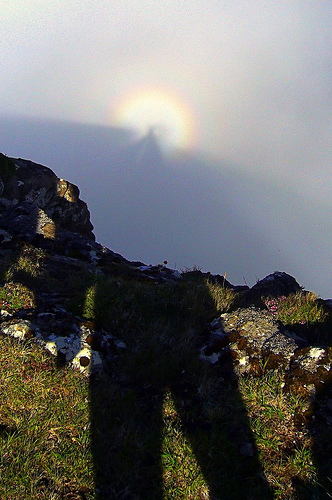 The sun casts a shadow, then ahead in the mist is the rest of the shadow, surrounded by concentric halos of coloured light.