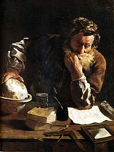 Archimedes Thoughtful by Fetti (1620). Archimedes seated at a table deep in study of a diagram, his hand resting on a small globe.