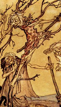 Sepia-black illustration of crones & cats gathered among spindly trees.  <strong>The Witches' Sabbath</strong> by Arthur Rackham (1867-1939).