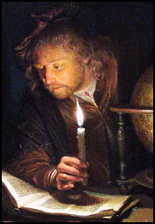 Astronomer seated at a table studying a book by candlelight.