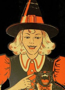 "1950's era Witch cardboard cutout by <a href=""http://www.beistle.com/"" target=""_blank"">The Beistle Company</a>. See <a href=""http://sexywitch.wordpress.com/2008/08/02/the-1950s/"" target=""_blank"">Sexy Witch</a>"