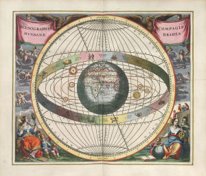 A map of the cosmos according to Tycho Brahe showing Earth orbited by the other planets and the zodiacal belt.
