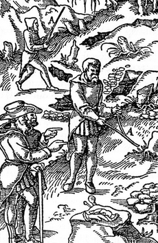 Woodcut from the father of mineralogy, Georgius Agricola's, De Re Metallica. Men cut and use divining rods to locate minerals. 1556.