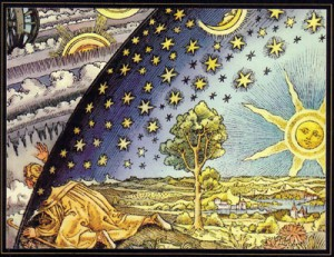 "<a href=""http://en.wikipedia.org/wiki/Flammarion_engraving"" target=""_blank"">Flammarion engraving</a>. Man peeks between heaven and the Earth to the cosmos (1888)."