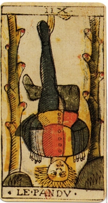 "Divinity, sacrifice, suspension. A reversal of values. The Hanged Man from the 1701-1715 classic ""Tarot de Marseille"" tarot deck of Jean Dodal. Odin hung upside down from the world-tree, Yggdrasil, for nine days to attain complete wisdom and knowledge."