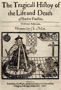 Title page to a 1620 printing of Doctor Faustus showing Faustus and a demon rising through a stage trap door.