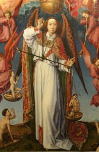 Archangel Michael weighing souls, altarpiece of the Last Judgement, Hospices de Beaune, France by Rogier van der Weyden (approx. 1446-1452). Dutch.