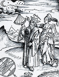 Claudius Ptolemy (AD c100-170) guided by Urania, the muse Astronomy in Margarita Philosophica (1508) by Gregor Reisch. Ptolemy measures the stars and Astronomy as a tall, robed woman stands behind him, pointing.