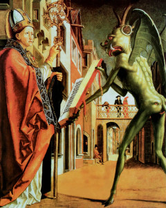 Saint Augustine (or Theophilus of Adana?) and the devil (1471-1475). Michael Pacher.