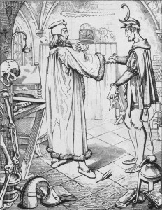 Faust's pact with Mephisto (about 1840), by Julius Nisle.
