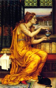 The Love Potion. By Evelyn De Morgan. 1903. Witch pours a potion into a chalice.