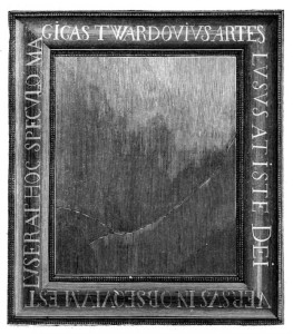 "1871 woodcut of mirror used by Twardowski to raise the wife of King Augustus. Alloy of silver, gold, zinc and tin (mirror), wood frame. For photos, see <a href=""https://www.google.com/search?q=W%C4%99gr%C3%B3w+Cathedral+mirror&biw=1218&bih=903&source=lnms&tbm=isch&sa=X&ei=AMIoVZm2OoTuoASU_4H4Ag&ved=0CAYQ_AUoAQ&dpr=1#tbm=isch&tbs=rimg%3ACd0UCTx1Zk2pIjhWu198NfTPedFLsWZHeT7ItZkM0L4XCsp4hSVYT5DeIxBar6v8ANLMQZNbMZkB5Ot3G9U-aKIq4yoSCVa7X3w19M95EdlEK9pWUD5XKhIJ0UuxZkd5PsgRf61qIzevlmAqEgm1mQzQvhcKyhHuaZZ8OW8eHSoSCXiFJVhPkN4jEZBv1OldiG2fKhIJEFqvq_1wA0swR6IKPvTUVSUMqEglBk1sxmQHk6xHGuNKBZ3RrbyoSCXcb1T5ooirjERTRKlExLzrX&q=W%C4%99gr%C3%B3w%20Twardowski%20mirror"" target=""_blank"">Google Images</a>."