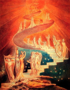 Ladder uniting Heaven and Earth (Jacob's Ladder). William Blake. 1799