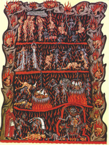 Medieval illustration of Hell in the Hortus deliciarum manuscript of Herrad of Landsberg (about 1180
