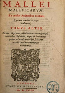 Title page of a 1596 edition of the Malleus Maleficarum.