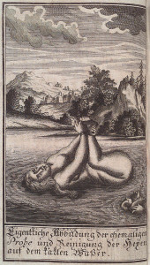 Woman, hog-tied, floating on water.