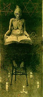 Witch in a magic circle (naked hag sitting on a tall stool with book a open in her lap, sitting on stool, within circle set with candles. Flames before her, a pentagram and star of David inscribed beside her)